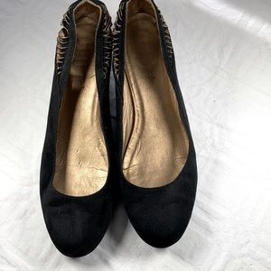 Shoedazzle wedge black velvet dress shoes